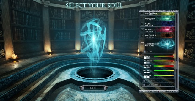 Chronicles of Elyria Soul Selection Screen