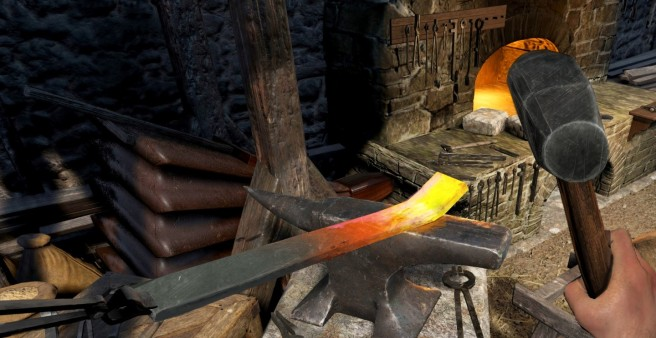 An anvil being used for crafting in Chronicles of Elyria.