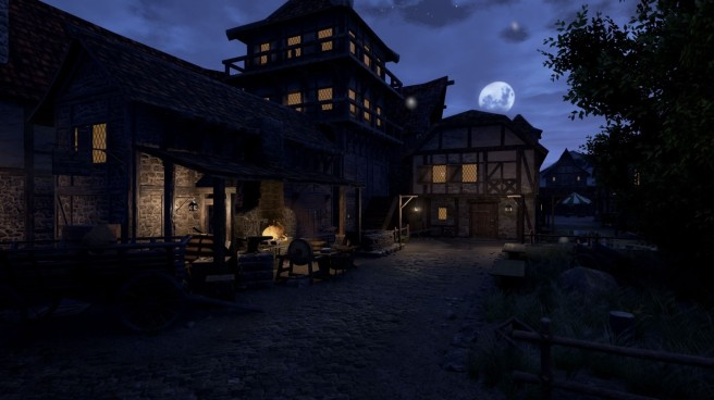 A forge used fro crafting shown at night in Chronicles of Elyria.