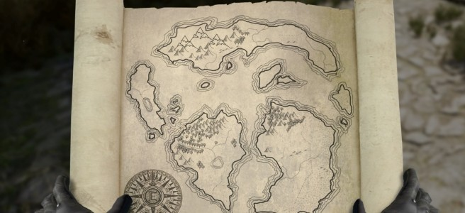 A character holding a map in Chronicles of Elyria.