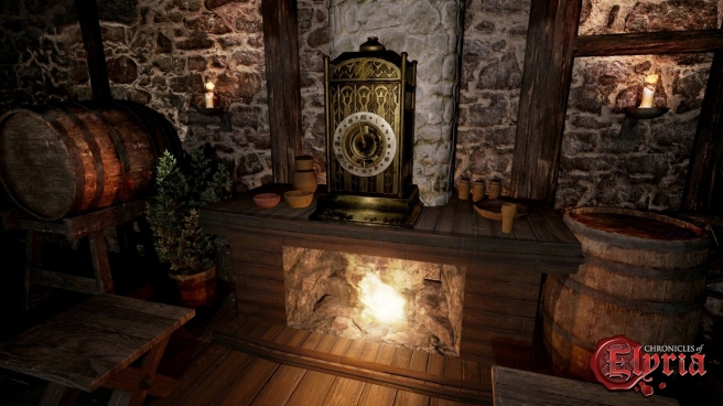 An indoor sceen including a clock in Chronicles of Elyria.