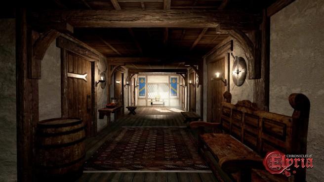 An inn hallway in Chronicles of Elyria.