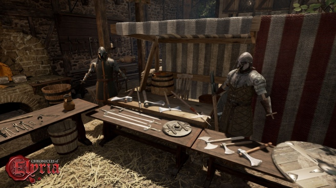 A blacksmith stall at a market in Chronicles of Elyria.
