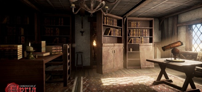 A bookcase hiding a hidden room from Chronicles of Elyria.