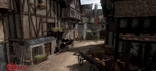 A narrow street with carts and goods rom Chronicles of Elyria.