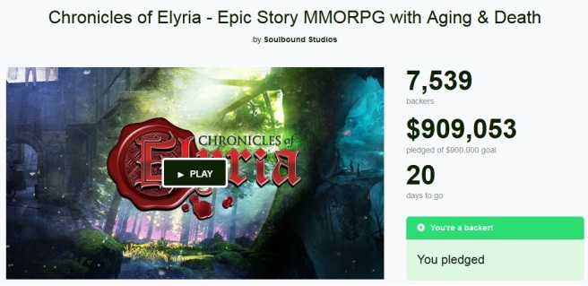 Chronicles of Elyria reaches their Kickstarter Goal