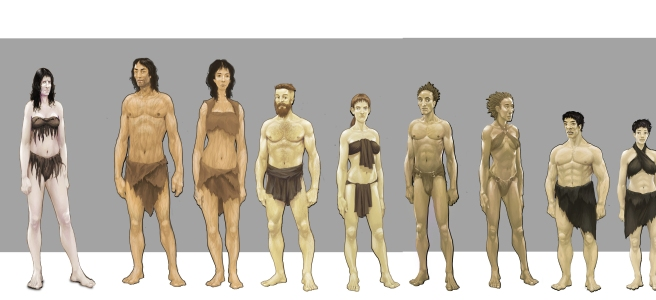 Concept art showing the tribes of Chronicles of Elyria.